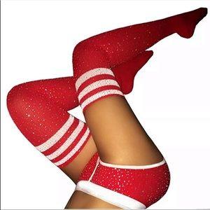 Red white crystal rhinestone otk thigh high socks